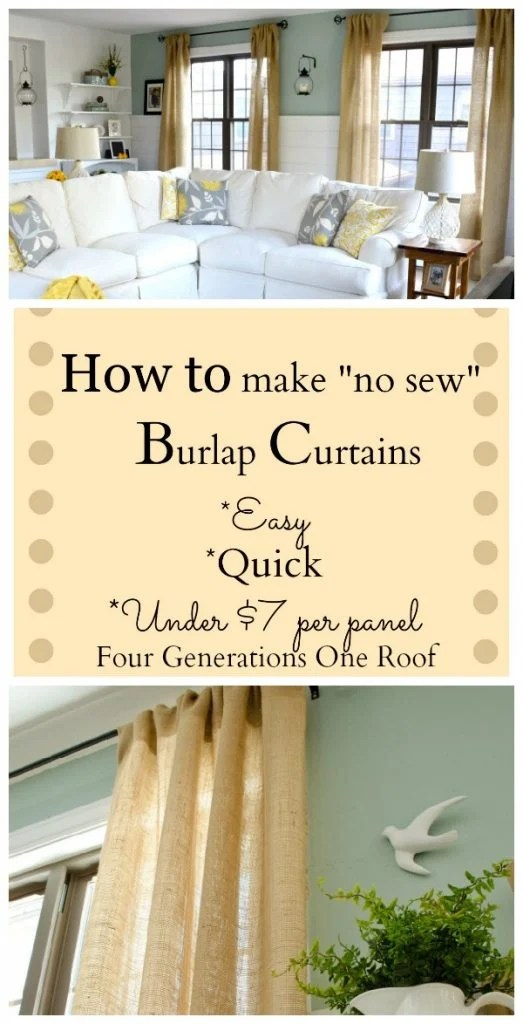 How to make Burlap Curtains DIY Burlap Curtains No Sew Curtains using Stitch Witchery and an Iron. DIY living room curtains. $7 dollar curtain panels