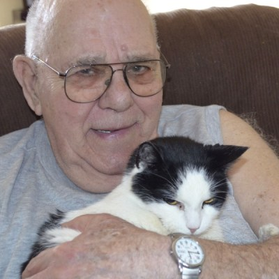 A man and his cat {my grandfather}