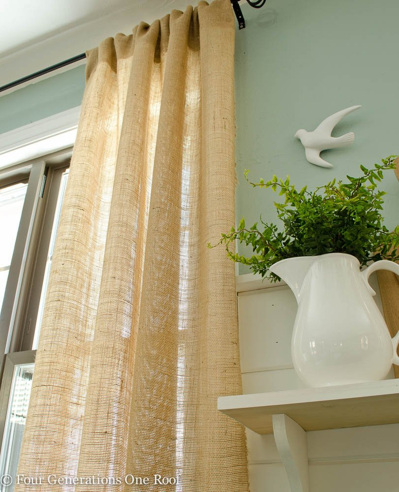 spring mantel closeup of burlap curtain
