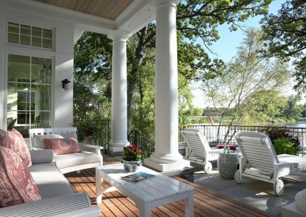 white columns covered porches
