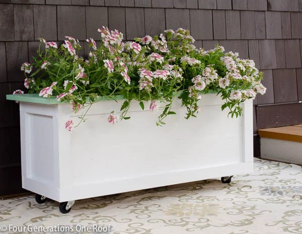 Large DIY Planter on Wheels {tutorial}