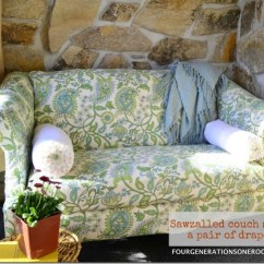Reupholstering Sofa Cushions Do It Yourself Navy Blue Living Room Ideas How To Reupholster A Couch No Sew Four Generations One Roof Green Drapes Used As Fabric