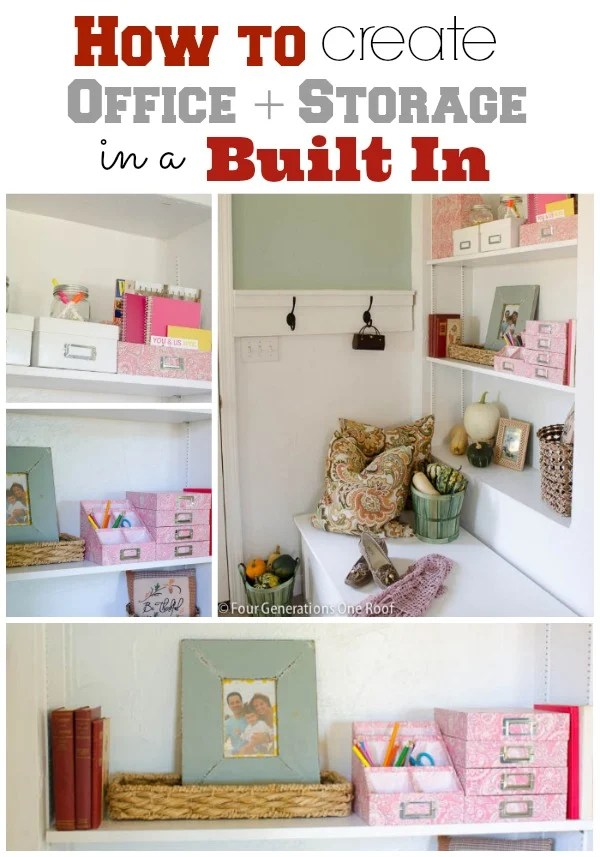 decorating built in office storage