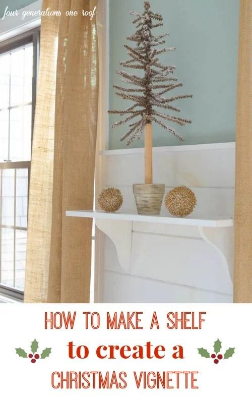 how to make a shelf christmas vignette