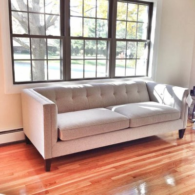 The search for a comfy couch {our tufted sofa}