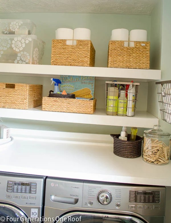 Budget Laundry Closet With Diy Floating Shelves Four Generations One Roof
