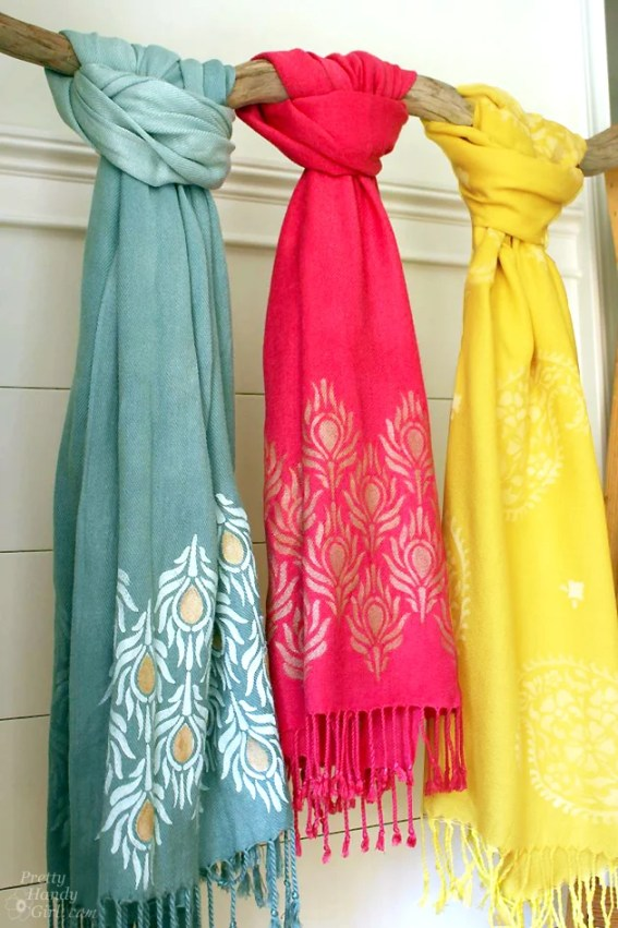 colorful-stenciled-scarves