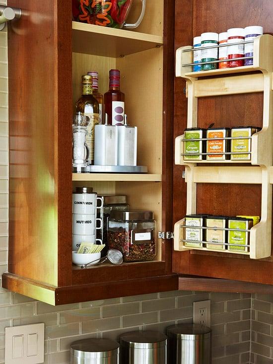 how to get organized inside door spice rack