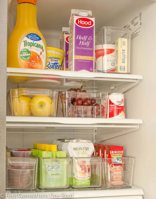 Pull out acrylic snack bins in a refrigerator