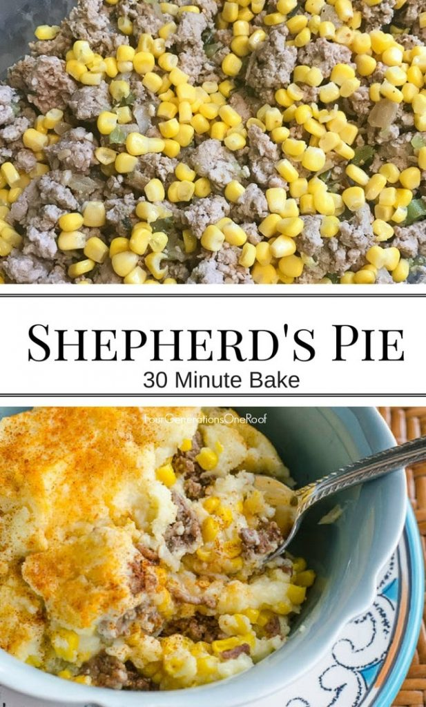 Easy Shepherd's Pie with ground beef, corn and potatoes