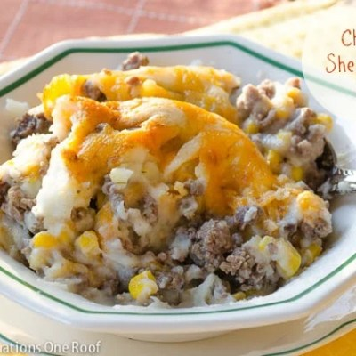 Cheesy Shepherd's Pie with shredded cheddar cheese