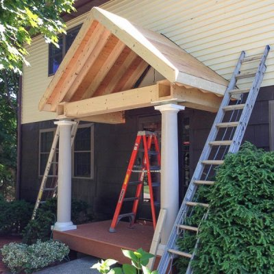 Building a Portico {the roof is up!}