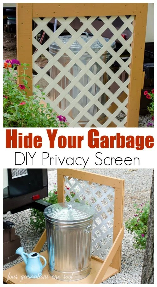 Need to hide your garbage? Try this DIY lattice privacy screen. Step by step visual tutorial that can be completed in an afternoon.