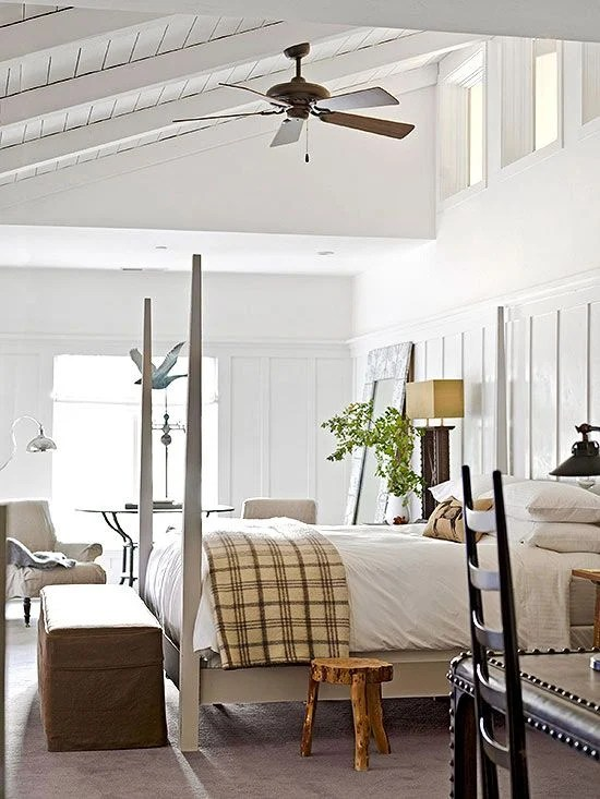 gorgeous master bedrooms + wooden wall
