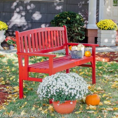 How to paint a red bench {bench makeover}