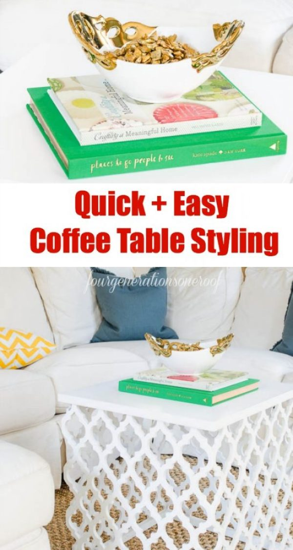 quick and easy coffee table decorating ideas + Fab coffee table find at HomeGoods