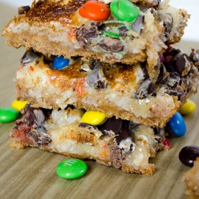 Gooey M&M cookies + bars