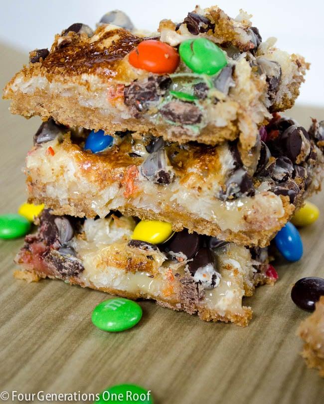 delicious gooey m&m cookies + bars