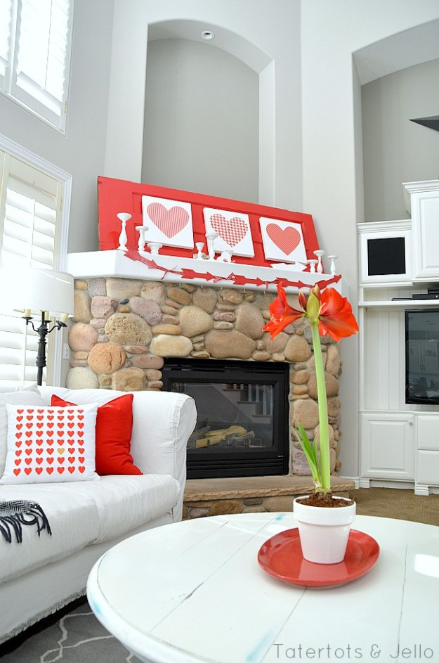 Decorating for Valentine's Day - big-heart-mantel