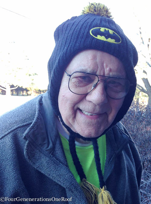 snow storm 2015 + grandfather batman hat