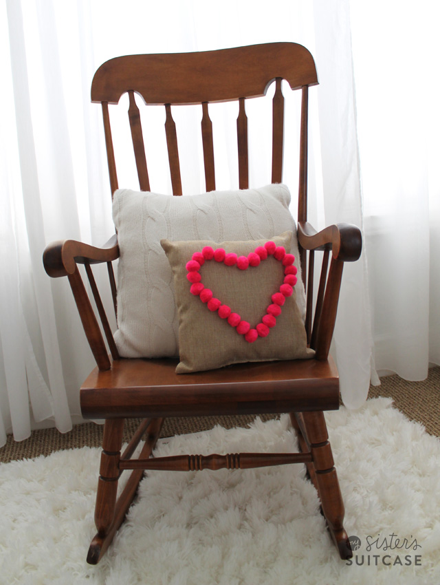 Decorating for Valentine's Day heart-pom-pom-pillow