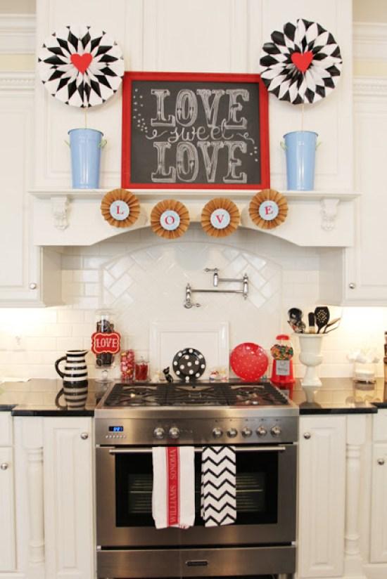 Decorating for Valentine's Day- kitchen-valentine-decor