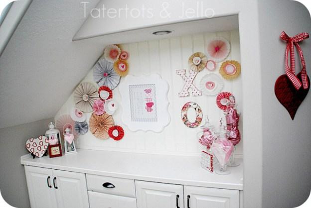 Decorating for Valentine's Day - pinwheel-valentine-vignette