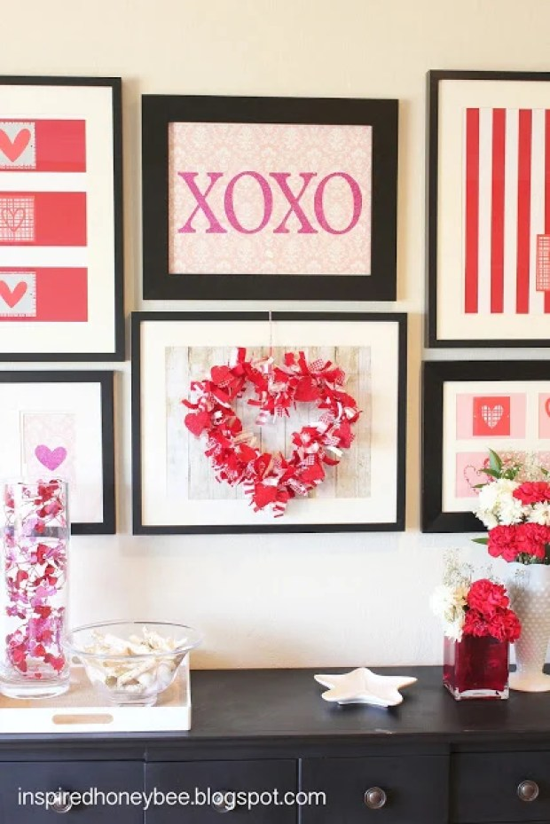 Decorating for Valentine's Day - valentine-gallery-wall