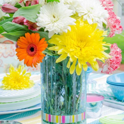 DIY Summer Vase + Washi Tape {10 minute idea}
