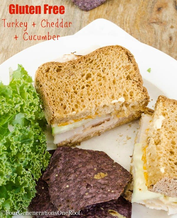 Turkey Sandwich + Cheddar + Cucumber sandwich with gluten free bread {low fodmap lunch}