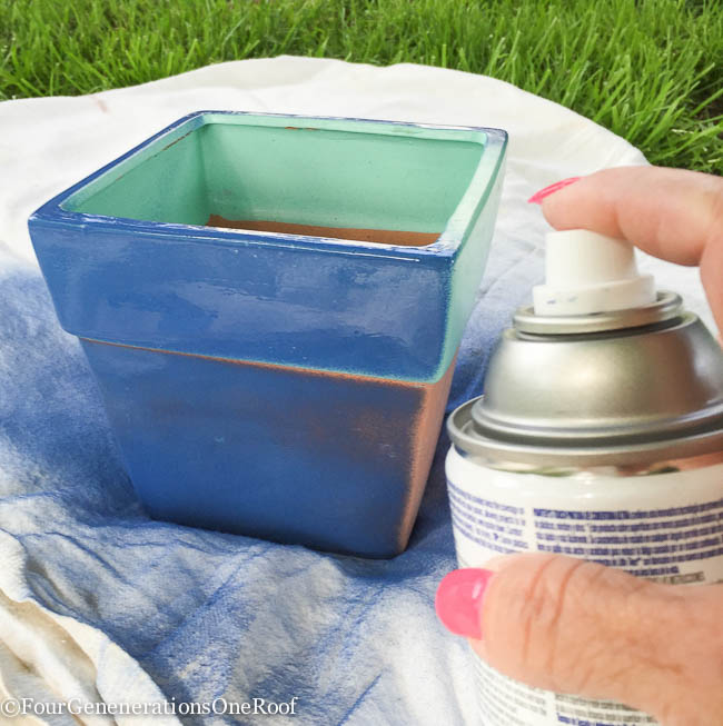 DIY blue herb planter-13
