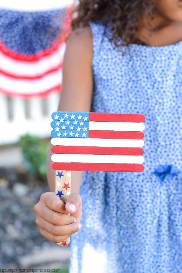 Patriotic-Popsicle-Stick-Flag-Craft fourth of july party ideas