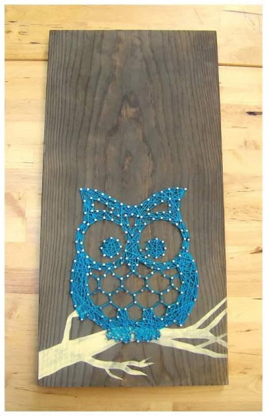 Owl Tablet String Art Blue