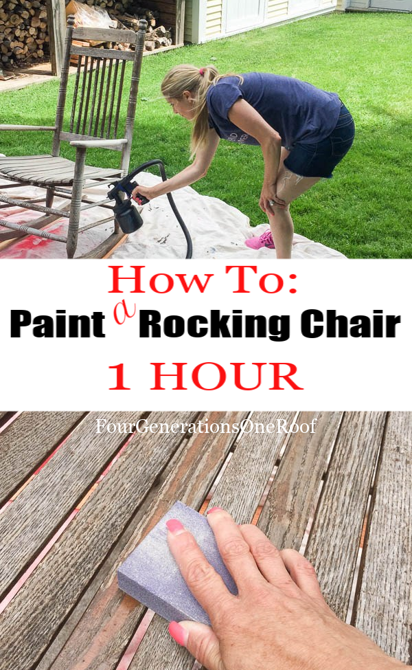 How to spray paint a wood rocking chair in one hour navajo white