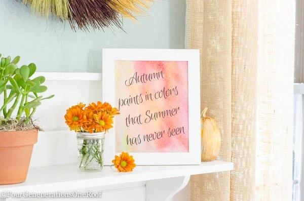 Autumn wall art printable / 23 Free Fall Printables / Fall Vignette