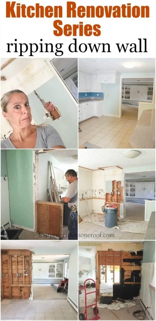 Tearing down walls in white kitchen renovation