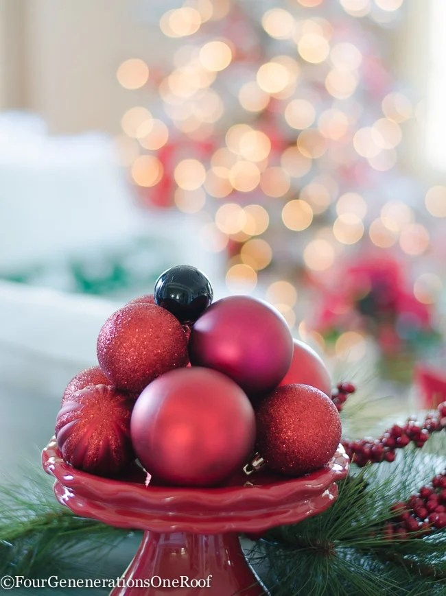 Fill a bowl or dish with ornaments - 10 minute Christmas decorating idea