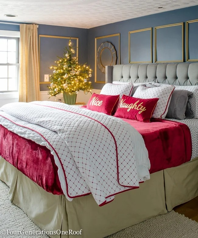 Our Red + White Christmas bedroom