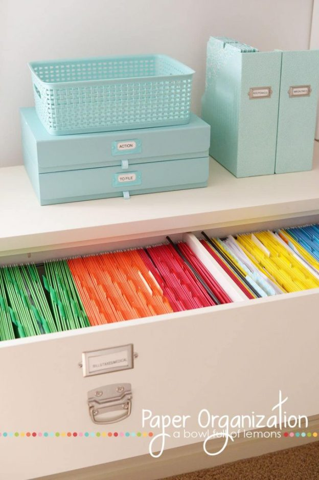 36 Tips for Getting Organized in 2016 color-coded-files
