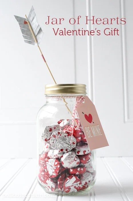 Valentine Mason Jar Ideas: Jar of Hearts by Polka Dot Chair