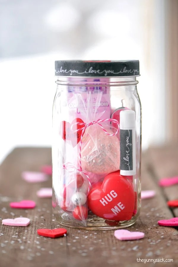 Valentine Mason Jar Ideas: Valentines Day Gift in a Jar by the Gunny Sack