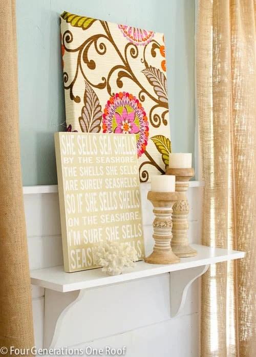 diy burlap curtains, seashells sign, wood candle holders, diy flower fabric wall art, whythe blue paint, white shiplap, white diy shelf