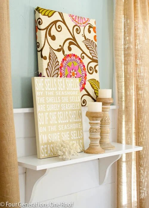 diy burlap curtains, seashells sign, wood candle holders, diy flower fabric wall art, whythe blue paint, white shiplap, white diy shelf