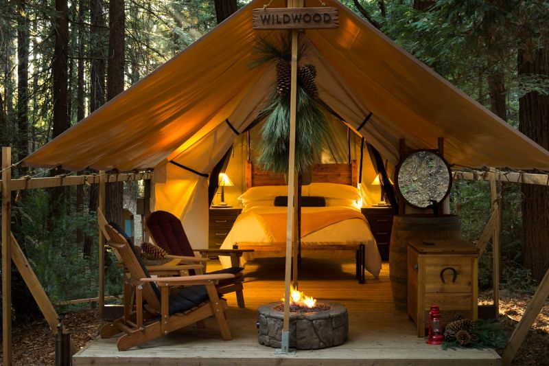 glamping open tent with lights in California