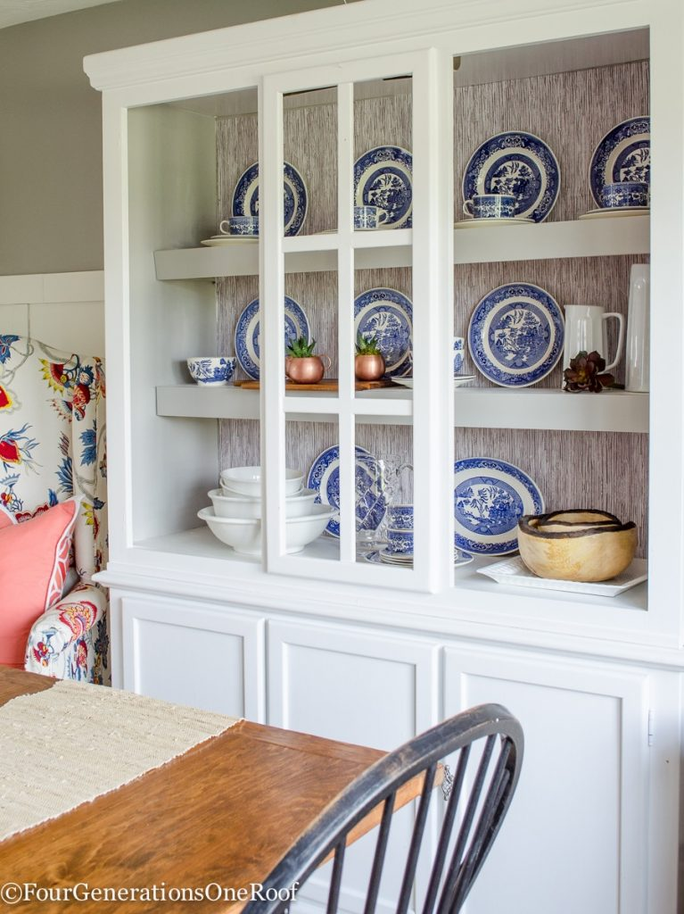 DIY peel and stick wallpaper / How to add peel and stick wallpaper to a hutch or bookcase