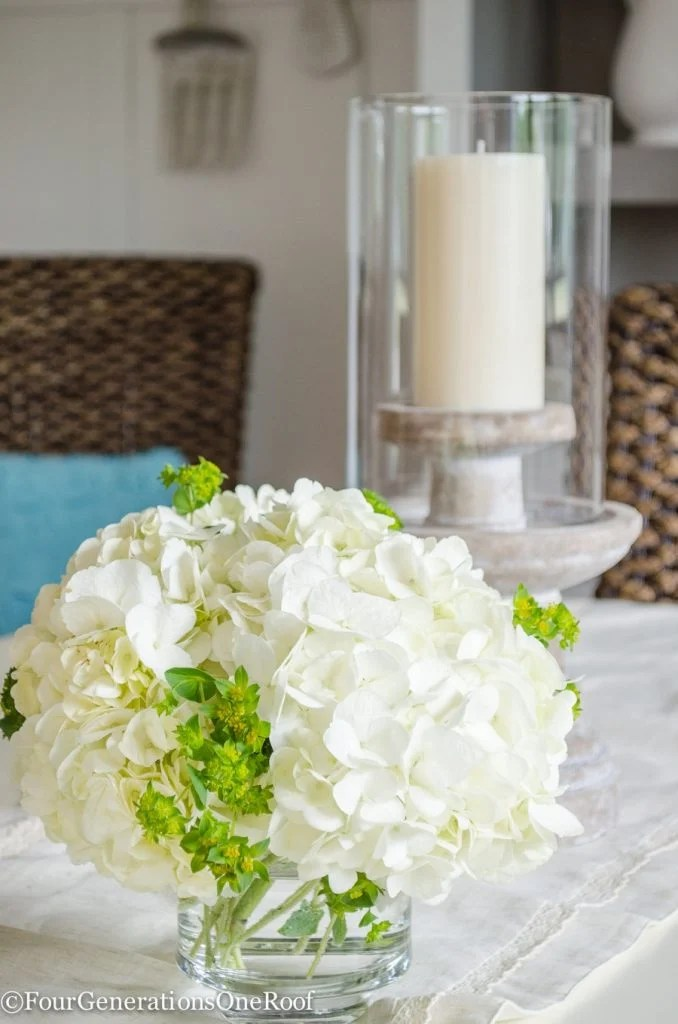 hydrangeas, stone candle pillar, hurricane candle holder