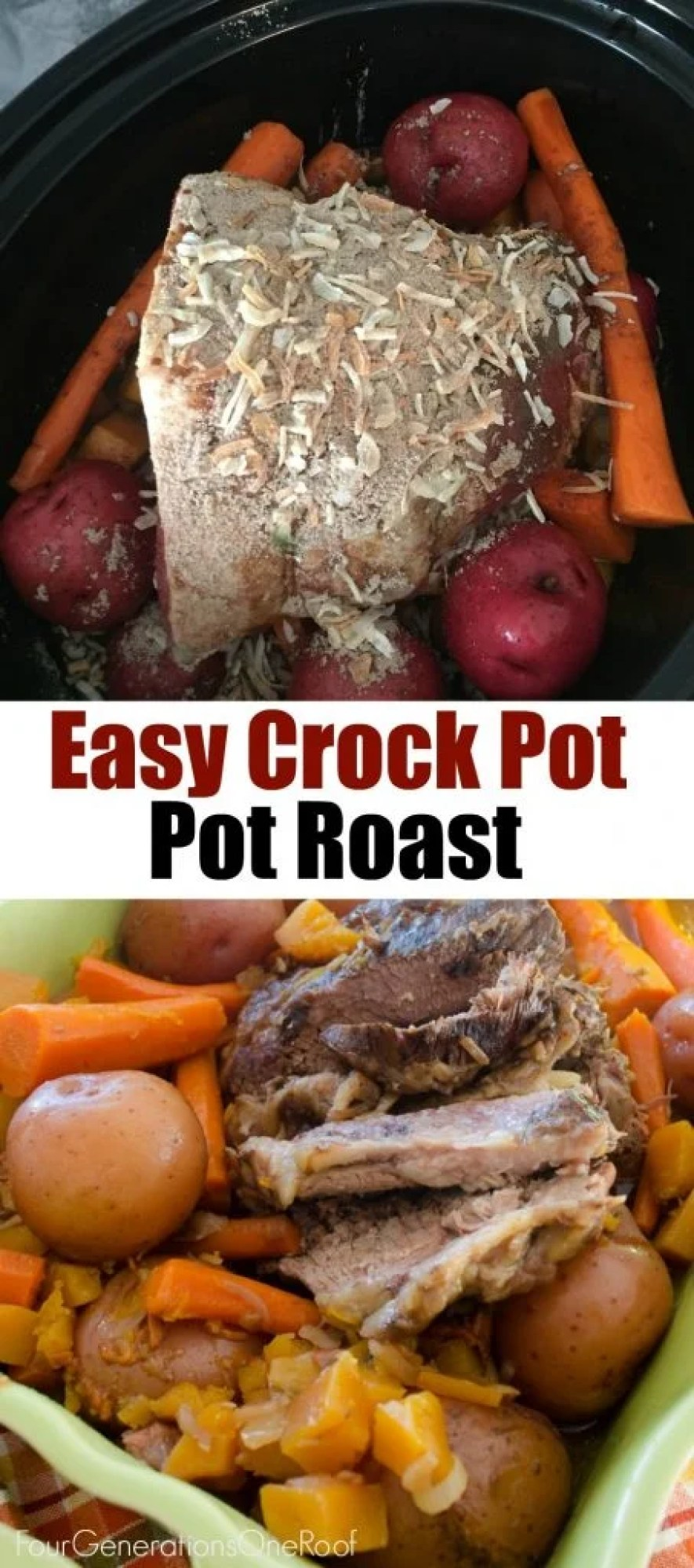 crock-pot-pot-roast / Easy steps, 1, 2, 3 - cook on low for 6 hours.