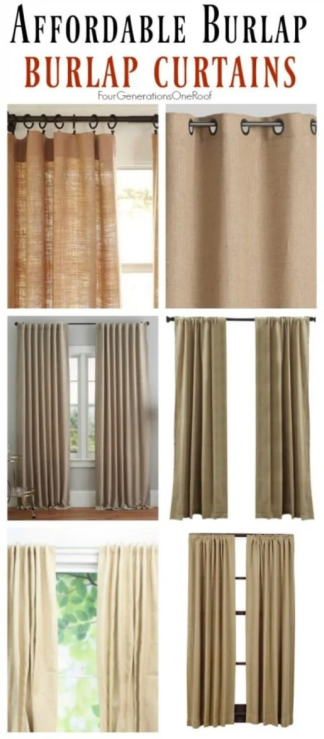 My favorite affordable burlap curtains or similar texture / Four Generations One Roof