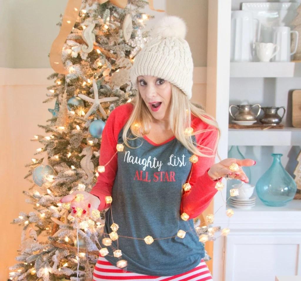 Christmas Pajamas 2016   Naughty List   Striped Leggings   Plaid and Merry Sweatshirt