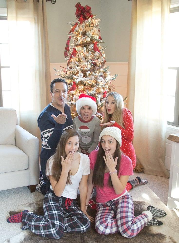 Our family Christmas Pajama Sets {photoshoot} Our Christmas Pajama Sets for Christmas Eve and our Christmas Card. Coordinating plaid, polka dot, nordic and striped pajamas are so festive and fun!